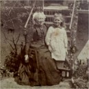 Phyllis with Mrs Margaret Wynne Nevinson in the Fords' back garden at No.2 Eldon Road, now Eldon Grove, Hampstead