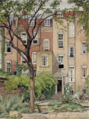 Walter Grimmond, A Hampstead Garden (1929), watercolour on board, ©  The Artist's Estate. Courtesy Janet and Di Barnes.