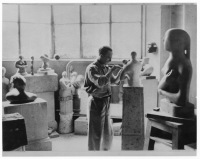 Henry Moore in his studio on Parkhill Road, Hampstead, in 1933. Photo Henry Moore Archive